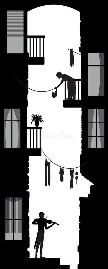 Взгляд жизни двора города, мелодия города или violiner двора между домами города: londry, balconues, ностальгия города, черный и бесплатная иллюстрация