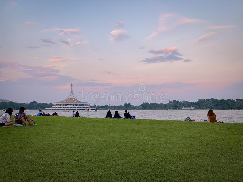 Взгляд захода солнца в Suan Luang, Таиланде стоковое фото rf