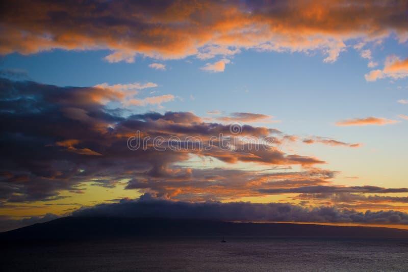 взгляд захода солнца Гавайских островов molokai стоковые изображения