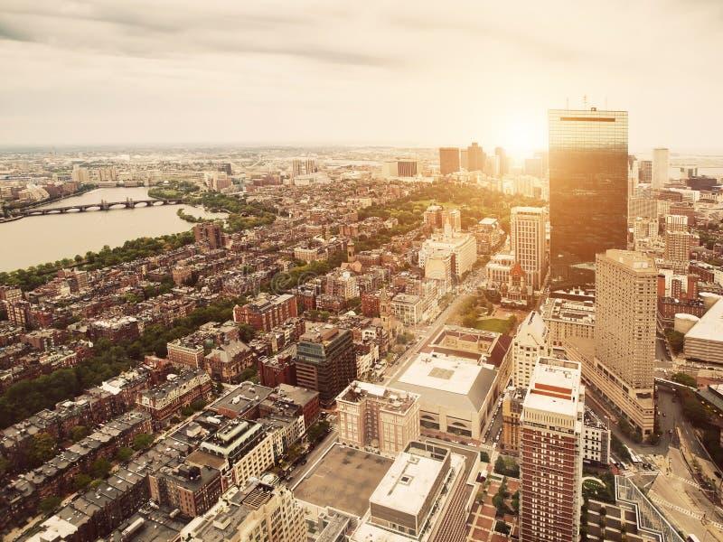 взгляд захода солнца boston стоковые фото