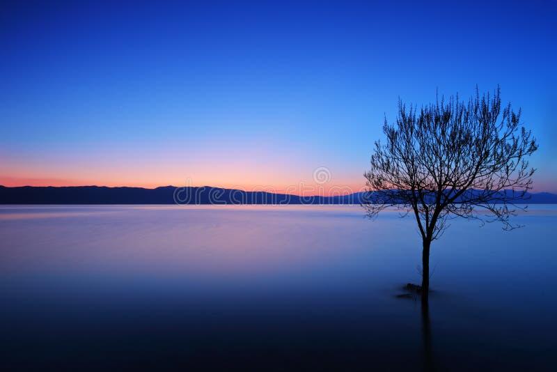 взгляд захода солнца ohrid озера стоковые фотографии rf