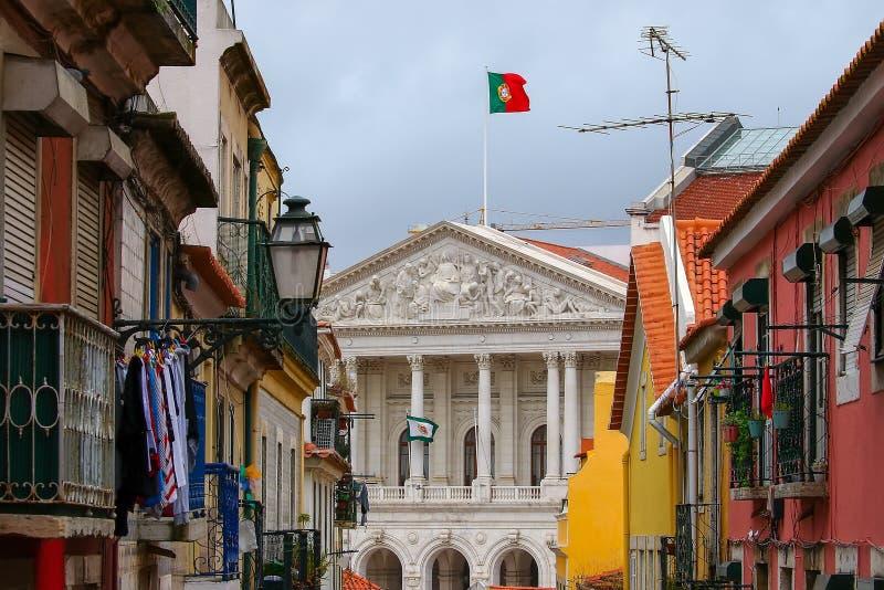 Взгляд здания парламента, собрание республики, Лиссабон стоковое фото rf