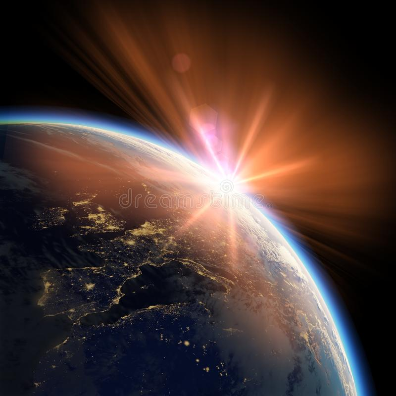 Взгляд земли от космоса с заходом солнца стоковое фото rf