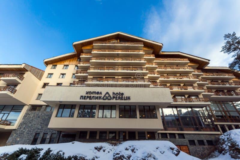 Взгляд зимы лыжного курорта Pamporovo в горах Rhodope, зоны Smolyan, Болгарии стоковые изображения rf