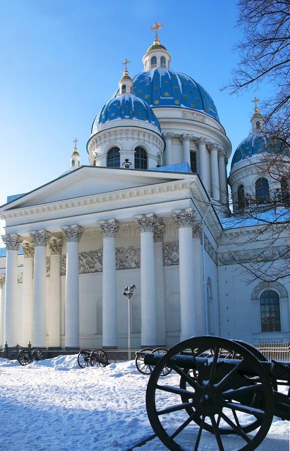 Взгляд зимы sobor Troitsky собора троицы в Святом-P стоковое изображение