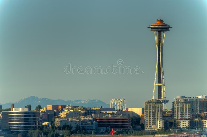 Взгляд иглы космоса и городского Сиэтл, Вашингтона, США стоковая фотография