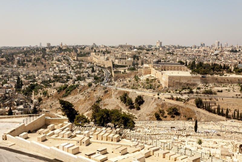 Взгляд Иерусалима от Mount of Olives, Израиля стоковое фото rf