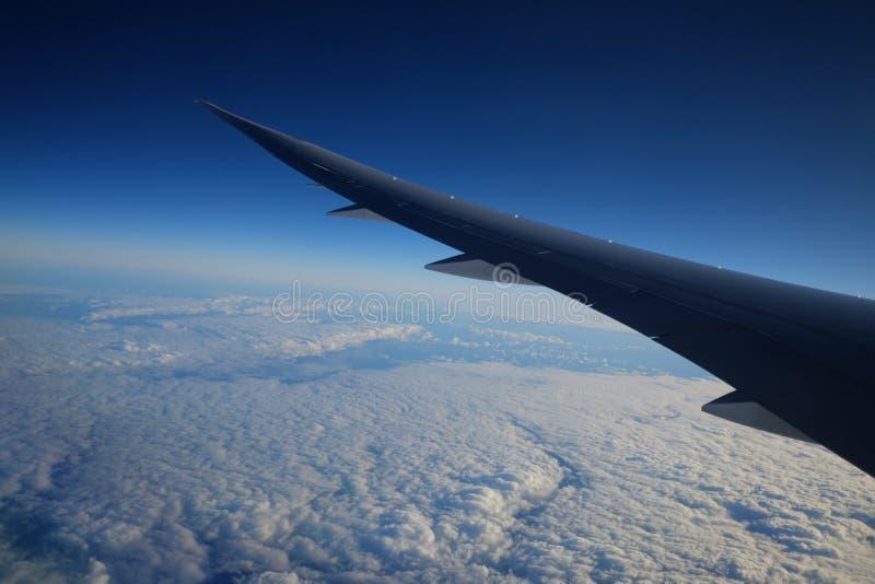 Взгляд из окна самолета с небом и белыми облаками на заходе солнца стоковая фотография rf