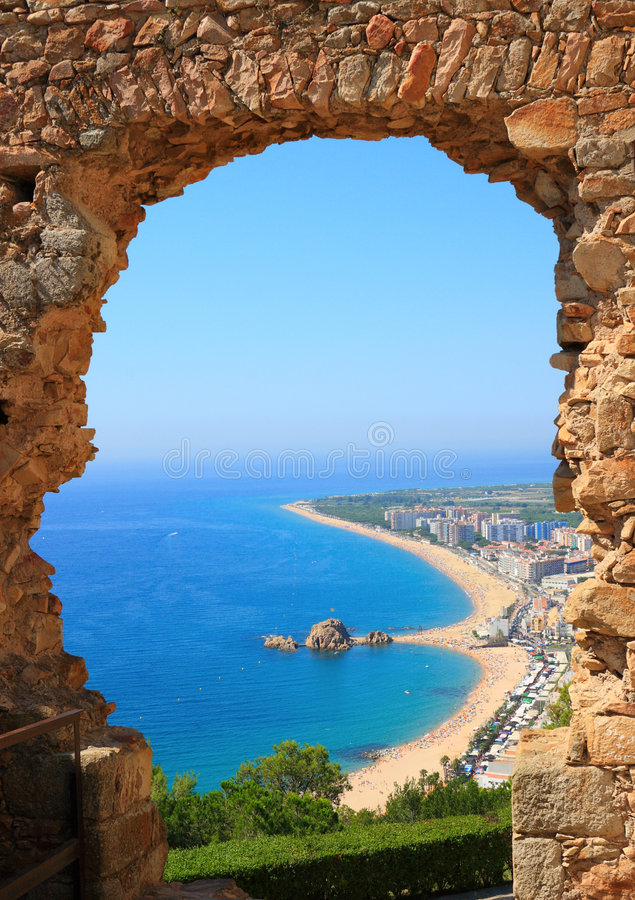 взгляд Испании Косты brava blanes стоковое изображение