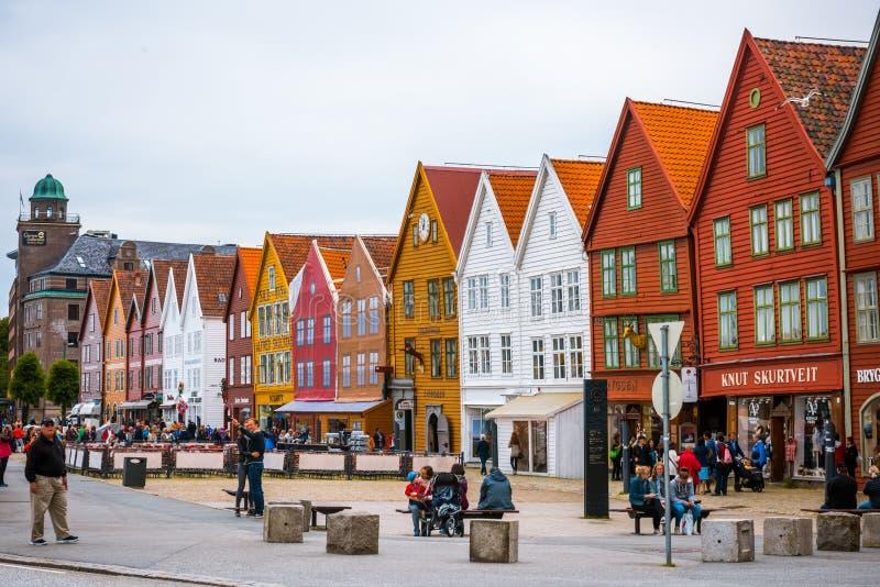 Взгляд исторических зданий в месте всемирного наследия ЮНЕСКО причала Bryggen- Hanseatic стоковое фото