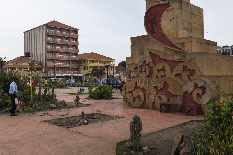 Взгляд квадрата Praca Imperio делает Imperio в городе Бисау, Республики Гвинея-Бисау стоковая фотография