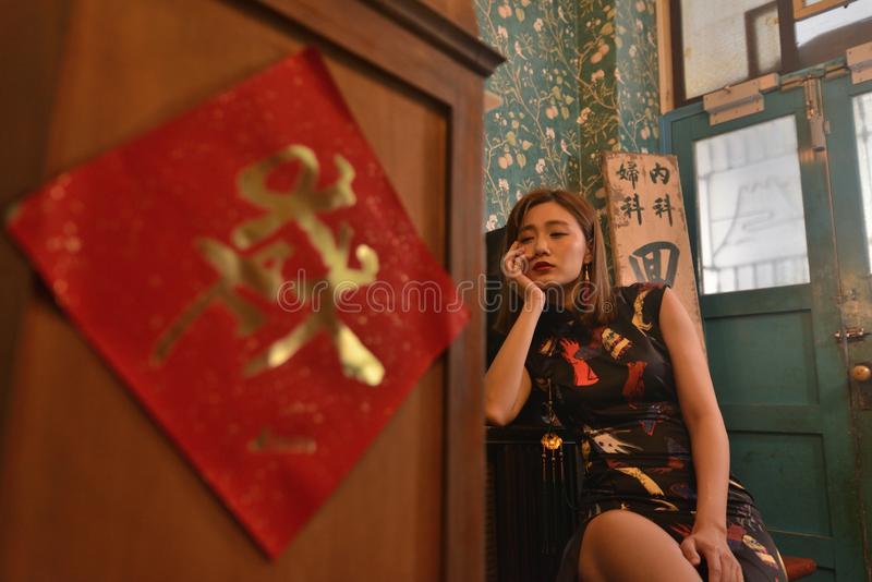 Взгляд китайской фотомодели ретро стоковая фотография
