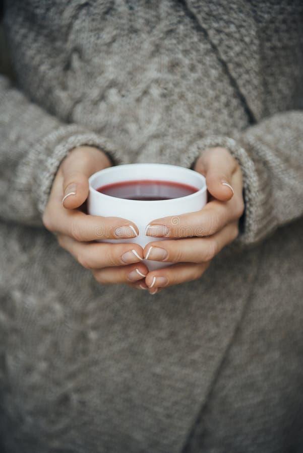 взгляд конца-вверх частично девушки держа чашку чаю стоковая фотография rf