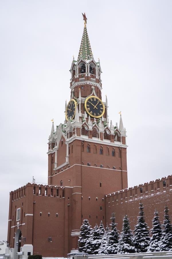 Взгляд Кремля и мавзолея Ленин в зиме стоковое изображение rf