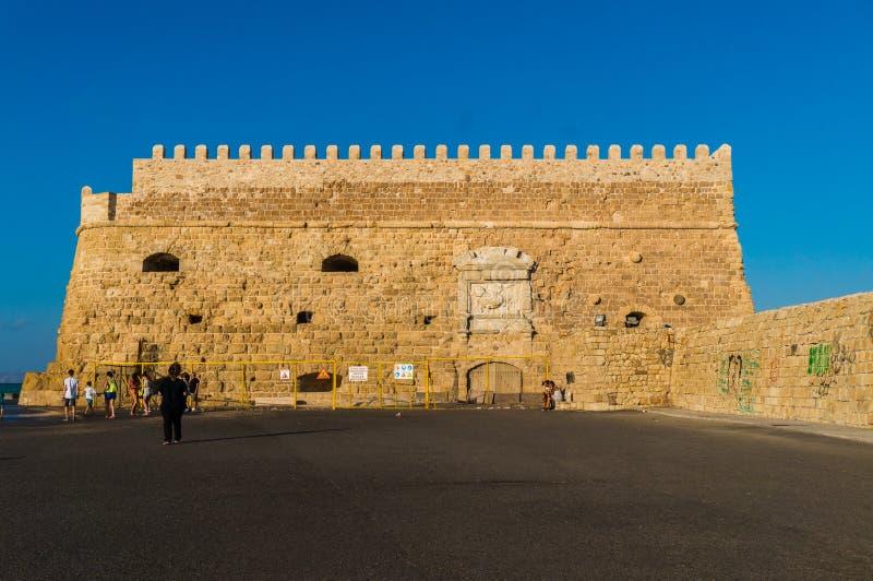 Взгляд крепости Castello конематка Koules в Herakleio Крита в Греции стоковое фото