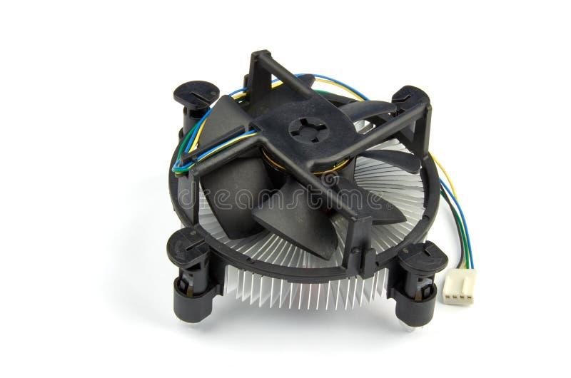 Взгляд крупного плана охладителя с вентилятором для компьютера, с пластичными лезвиями и стоковая фотография rf