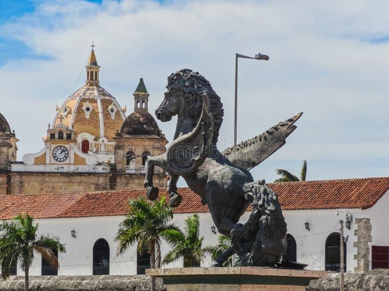 Взгляд крупного плана статуй Пегаса на причале Пегаса в cartagen стоковое фото rf