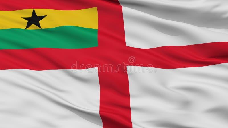 Взгляд крупного плана флага Ensign Ганы военноморской иллюстрация штока