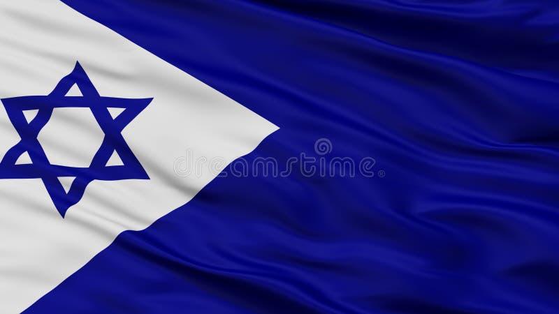 Взгляд крупного плана флага Ensign Израиля военноморской иллюстрация вектора