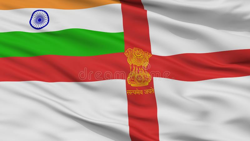 Взгляд крупного плана флага Ensign Индии военноморской иллюстрация вектора