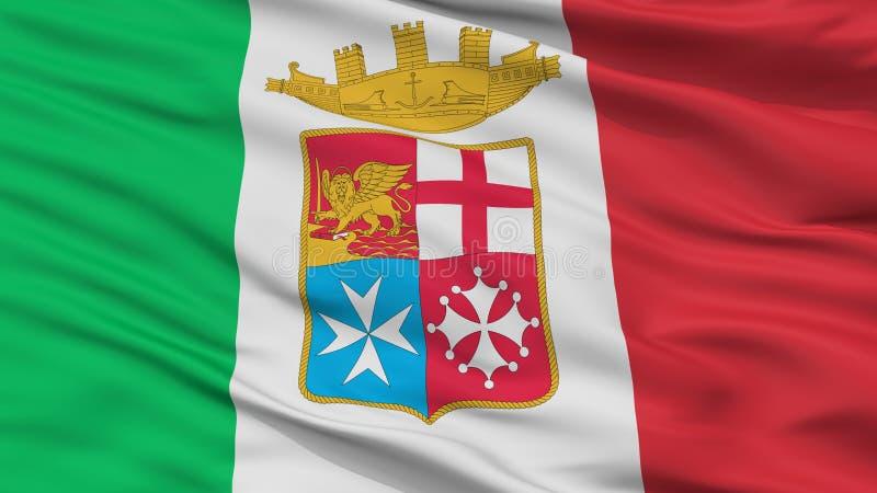 Взгляд крупного плана флага Ensign Италии военноморской иллюстрация штока