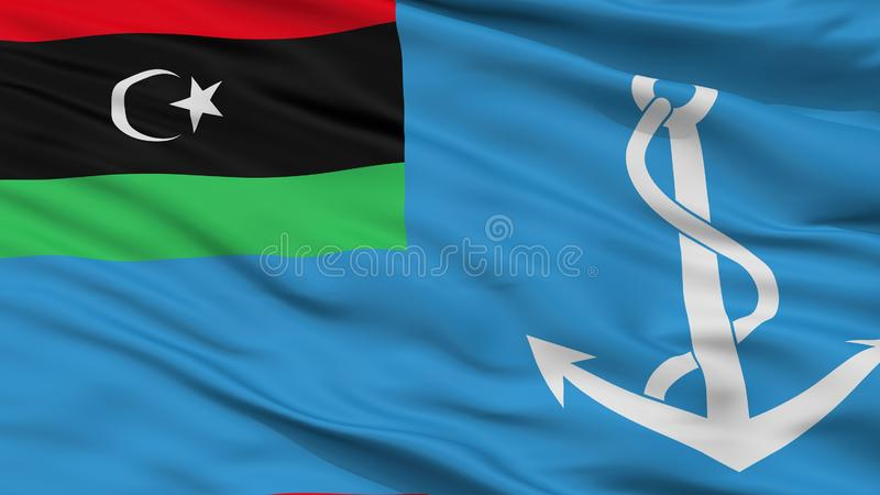 Взгляд крупного плана флага Ensign Ливии военноморской бесплатная иллюстрация