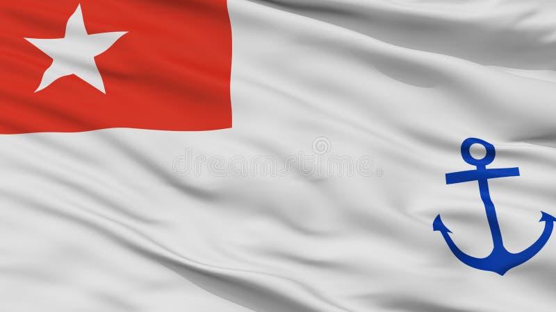 Взгляд крупного плана флага Ensign Мьянмы военноморской иллюстрация вектора