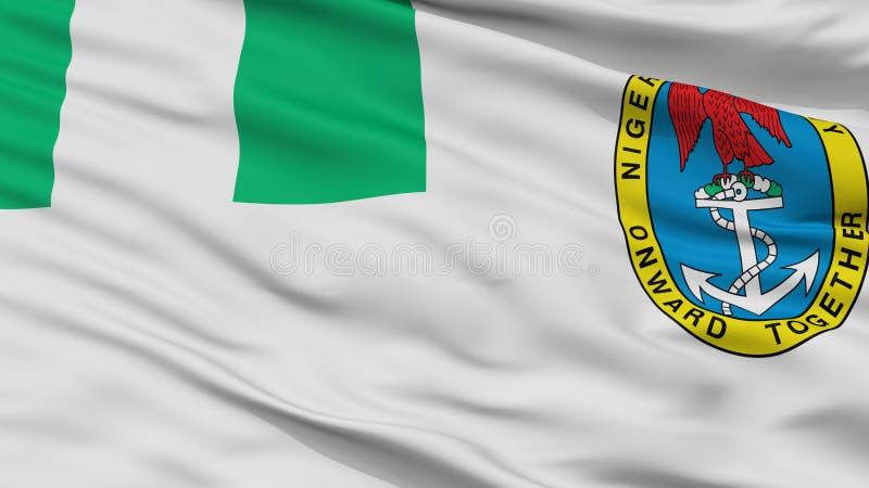 Взгляд крупного плана флага Ensign Нигерии военноморской бесплатная иллюстрация