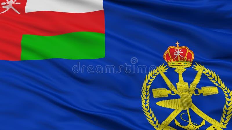 Взгляд крупного плана флага Ensign Омана военноморской иллюстрация штока