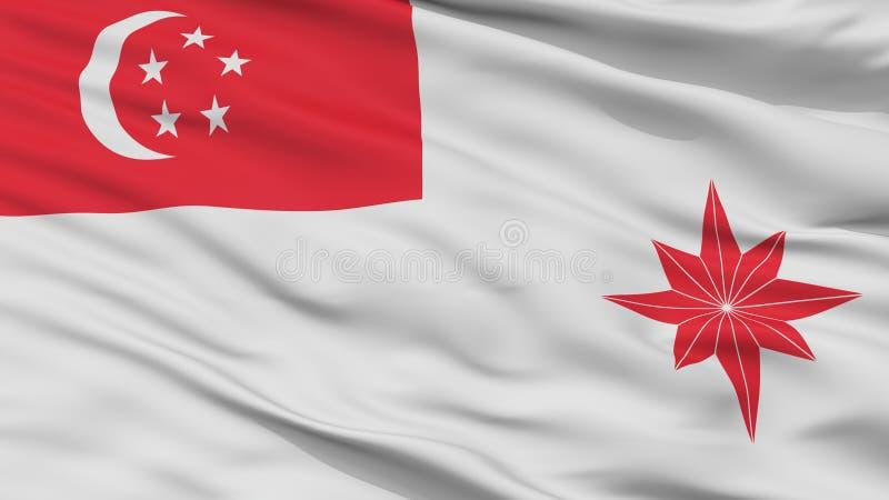Взгляд крупного плана флага Ensign Сингапура военноморской иллюстрация вектора