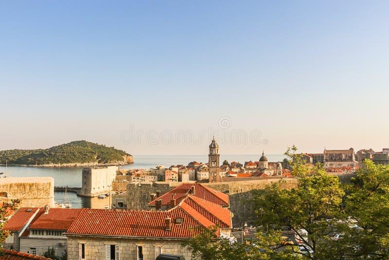 Взгляд крыши старого городка Дубровника стоковое фото rf