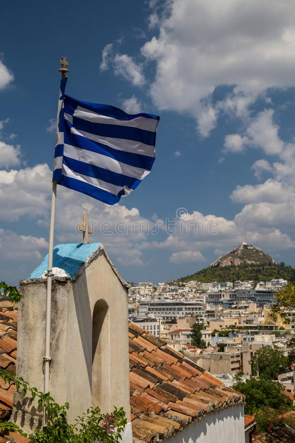 Взгляд к Афинам стоковое изображение rf