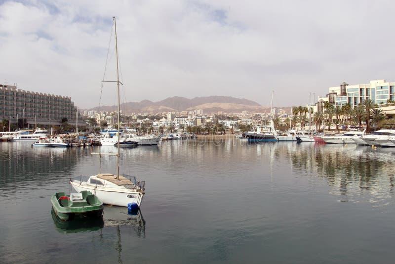 Взгляд к гостинице Malkat-Shva в Eilat Израиль JAN-2018 стоковая фотография rf