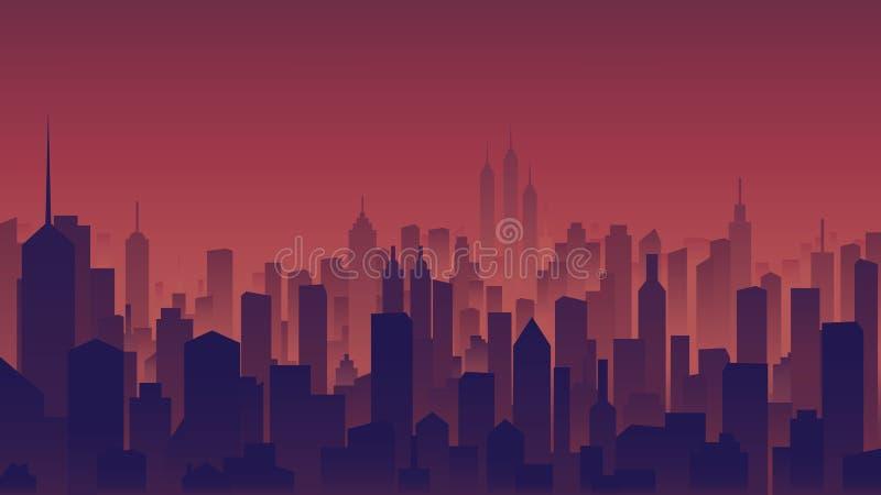 Взгляд ландшафта, высотные здания в городе на времени сумерек иллюстрация вектора