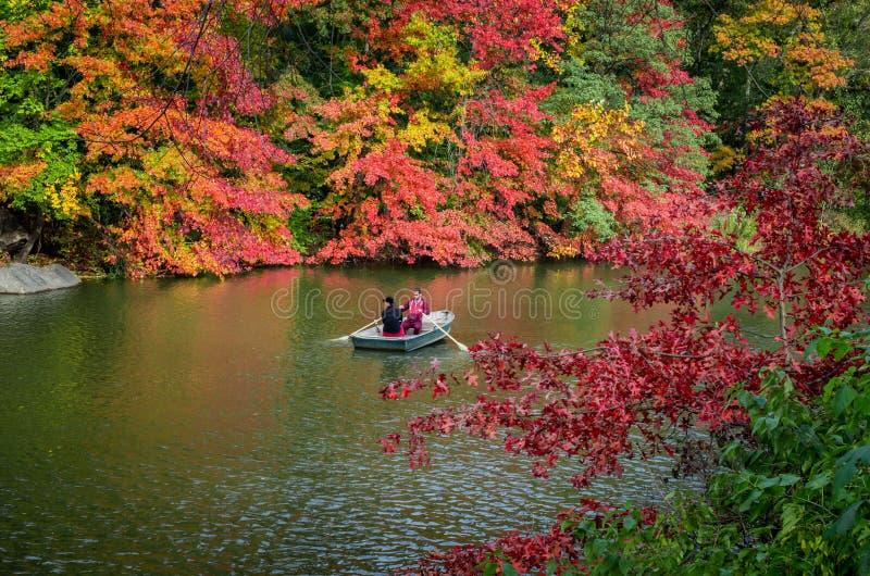 Взгляд ландшафта осени шлюпки на озере в центральном парке город New York США стоковое фото rf