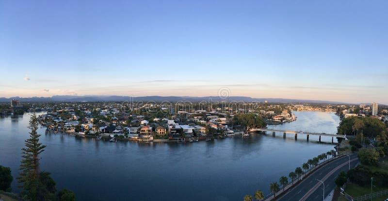 Взгляд ландшафта рая серферов панорамный воздушный стоковое изображение rf