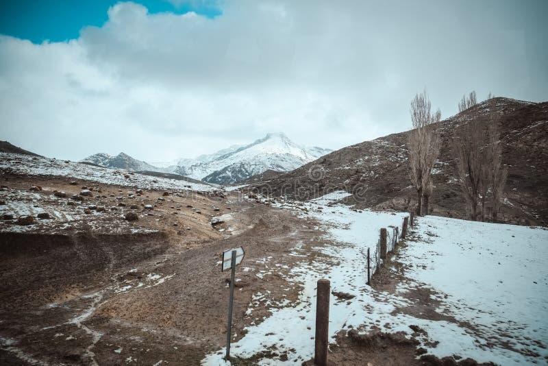Взгляд ландшафта сельского района в высокой горной цепи атласа Марокко стоковые фото