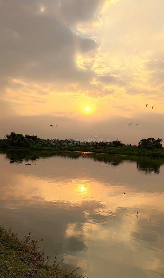 Взгляд ландшафта с озером стоковое фото rf