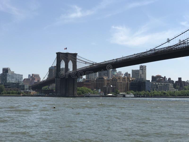 Взгляд лета Бруклинского моста Манхэттена стоковые фотографии rf