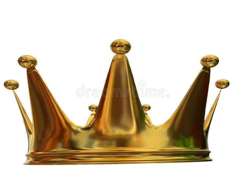 Взгляд лицевой стороны кроны золотой изолированный - перевод 3d иллюстрация штока