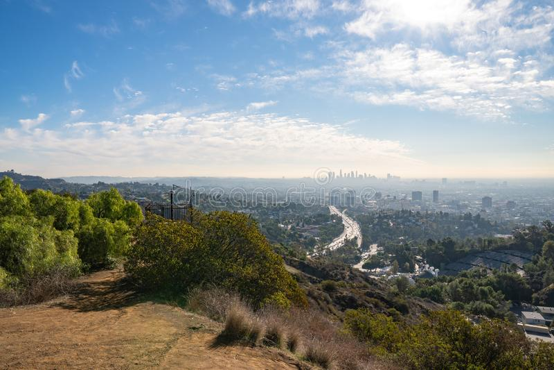 Взгляд Лос-Анджелеса от Hollywood Hills Ла центра города Шар Голливуда кот день наблюдает сидит солнечный вал теплый Красивые обл стоковая фотография