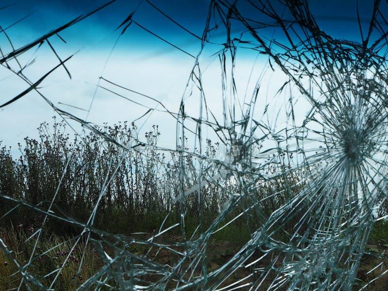 Взгляд луга через треснутые лобовые стекла стоковая фотография