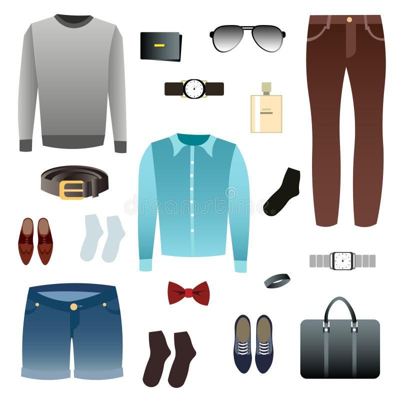 Взгляд людей, ботинки, аксессуары иллюстрация вектора