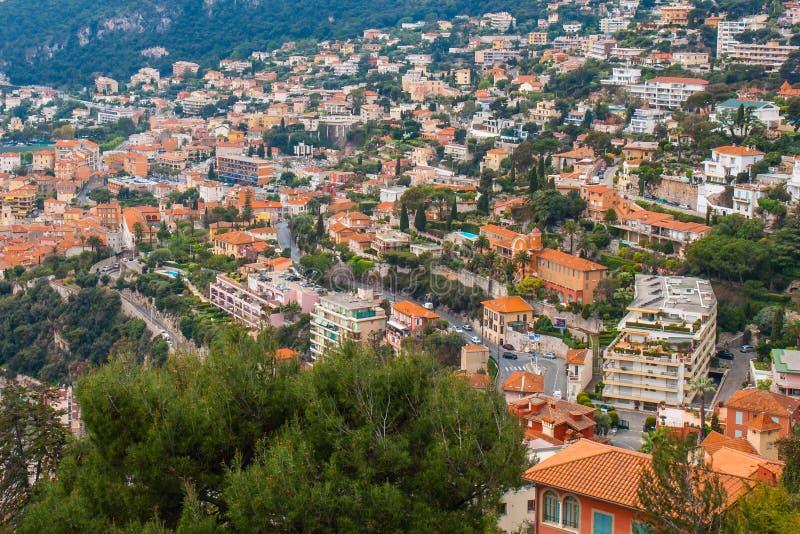 Взгляд Монако, Монте-Карло панорамный города стоковое изображение rf