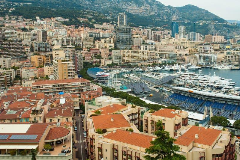 Взгляд Монако, Монте-Карло панорамный города стоковые изображения