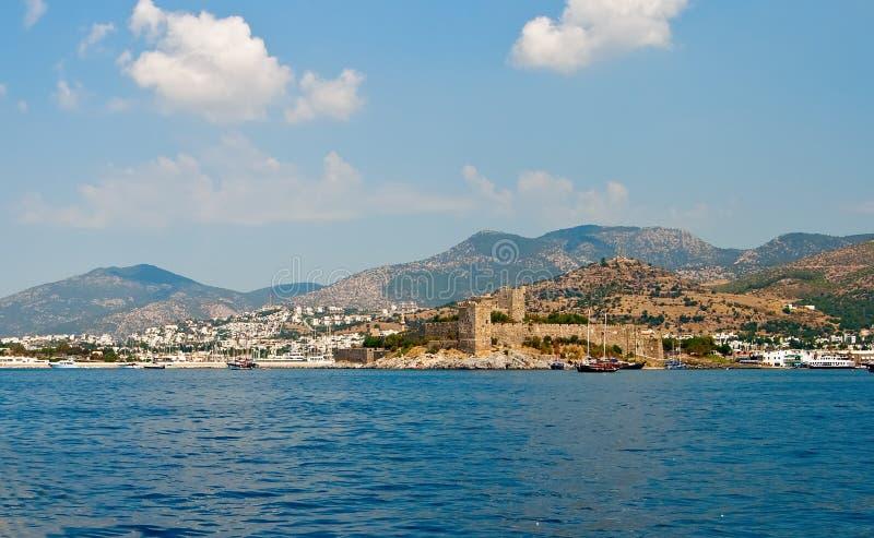 взгляд моря замока bodrum стоковое фото