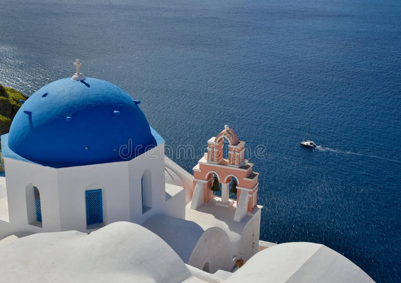 Взгляд моря от Santorini, Греции стоковая фотография rf