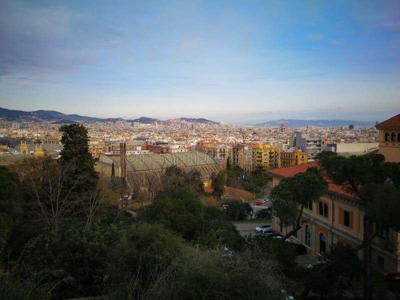 Взгляд над Барселоной весной стоковая фотография rf