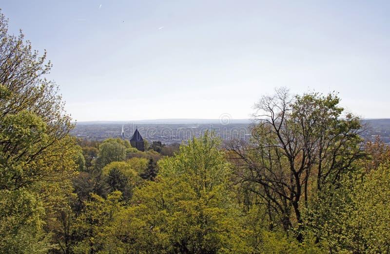 Взгляд над городом Аахен от холма Lousberg стоковые фотографии rf