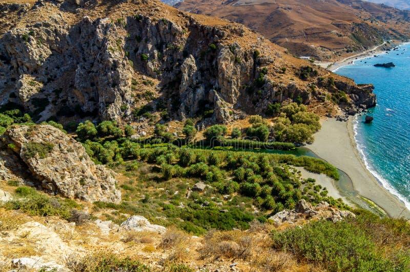 Взгляд над долиной ладони Preveli, Крита стоковое изображение rf